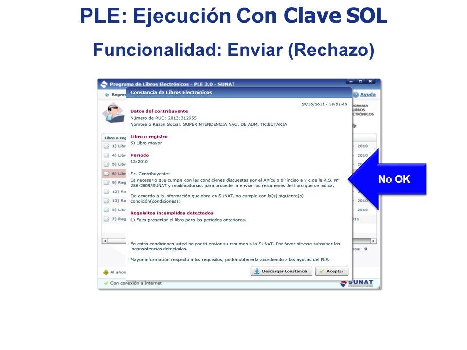 No OK PLE: Ejecución Co n Clave SOL Funcionalidad: Enviar (Rechazo)