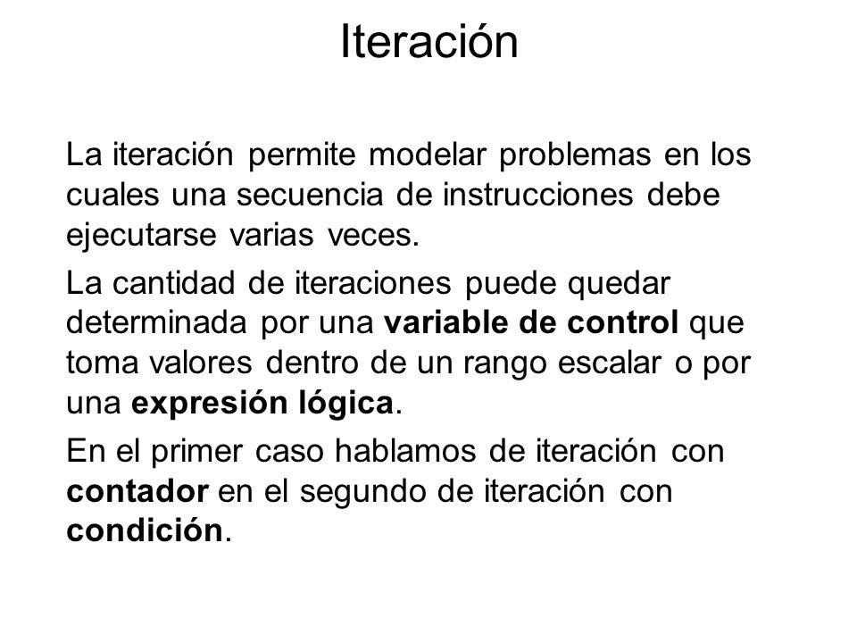 Iteración La iteración permite modelar problemas en los cuales una secuencia de instrucciones debe ejecutarse varias veces. La cantidad de iteraciones