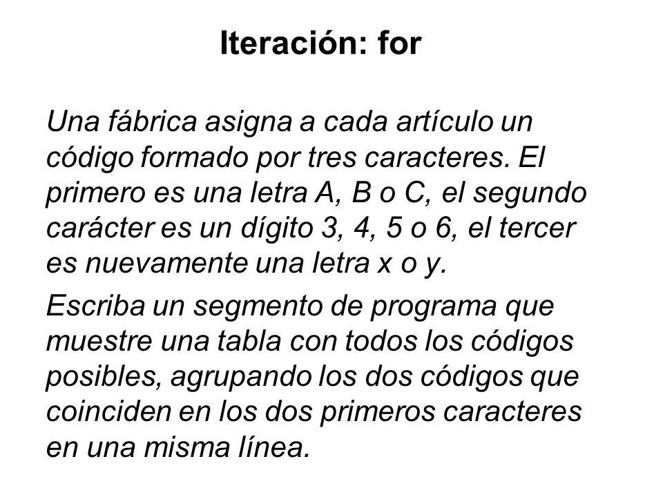 Iteración: for Una fábrica asigna a cada artículo un código formado por tres caracteres. El primero es una letra A, B o C, el segundo carácter es un d
