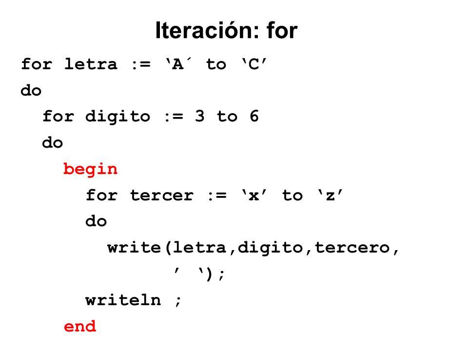 Iteración: for for letra := A´ to C do for digito := 3 to 6 do begin for tercer := x to z do write(letra,digito,tercero, ); writeln ; end