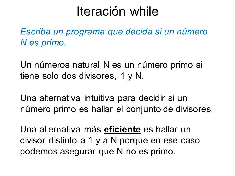 Escriba un programa que decida si un número N es primo. Iteración while Un números natural N es un número primo si tiene solo dos divisores, 1 y N. Un