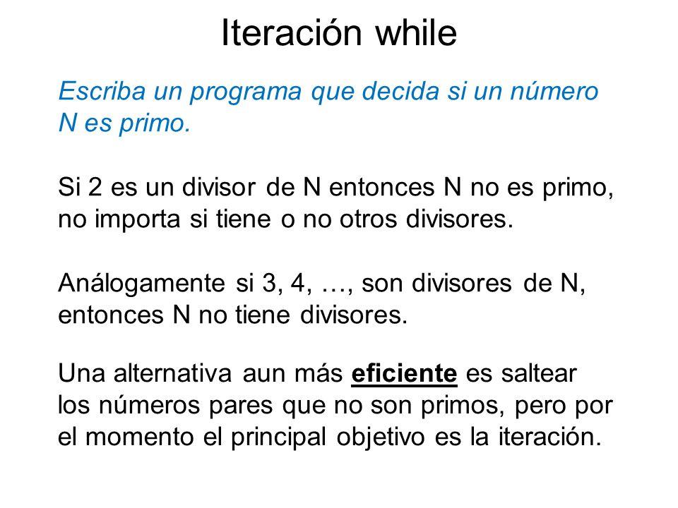 Escriba un programa que decida si un número N es primo. Iteración while Si 2 es un divisor de N entonces N no es primo, no importa si tiene o no otros