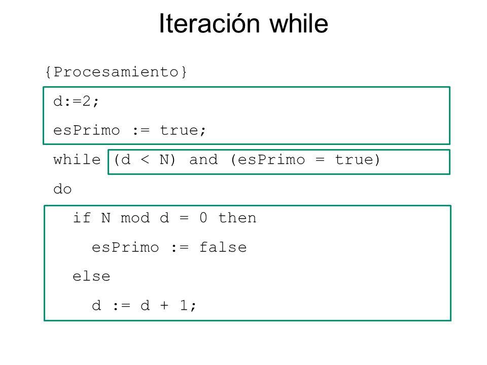 {Procesamiento} d:=2; esPrimo := true; while (d < N) and (esPrimo = true) do if N mod d = 0 then esPrimo := false else d := d + 1; Iteración while