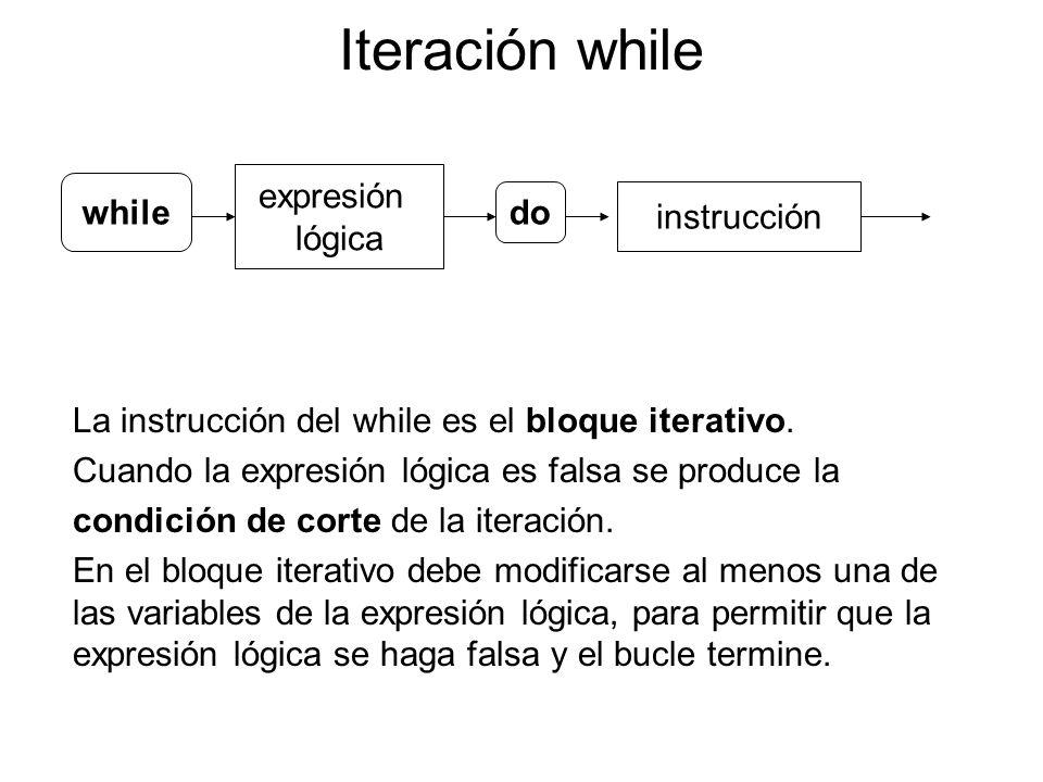 Iteración while expresión lógica while do instrucción La instrucción del while es el bloque iterativo. Cuando la expresión lógica es falsa se produce
