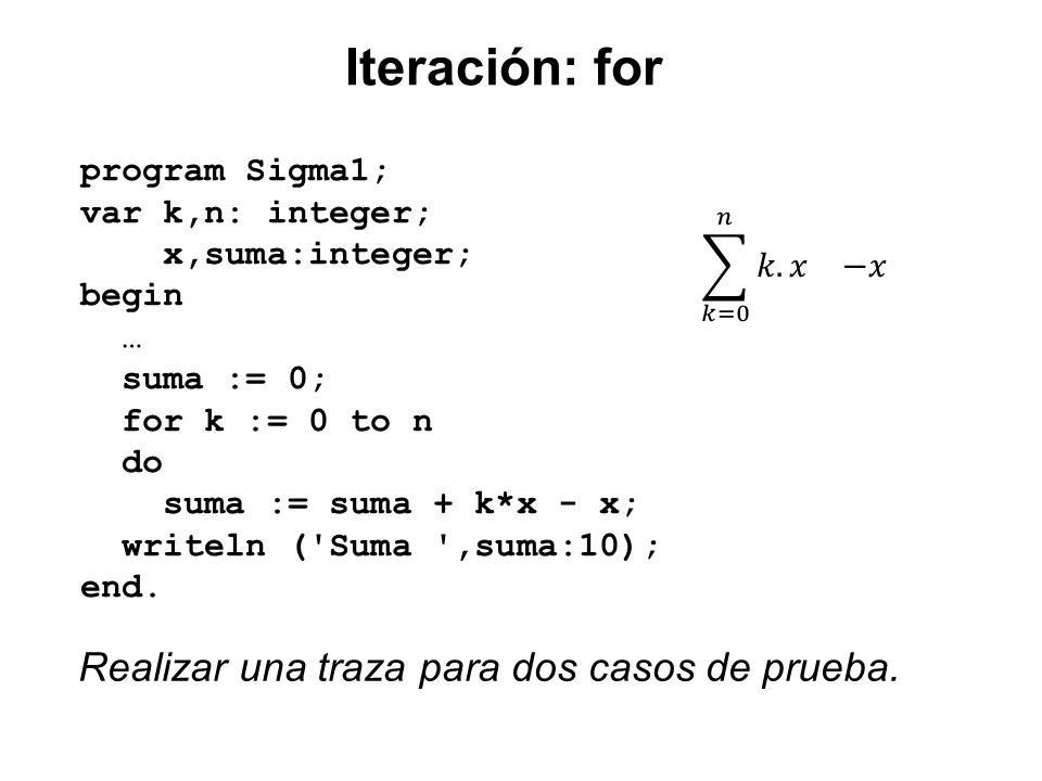 Iteración: for program Sigma1; var k,n: integer; x,suma:integer; begin … suma := 0; for k := 0 to n do suma := suma + k*x - x; writeln ('Suma ',suma:1