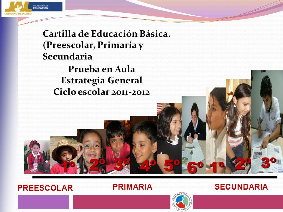 3º 4º 5º 2º 1º 2º 6º 3º 1º PREESCOLAR PRIMARIASECUNDARIA Cartilla de Educación Básica. (Preescolar, Primaria y Secundaria Prueba en Aula Estrategia Ge