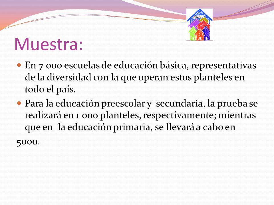 Muestra: En 7 000 escuelas de educación básica, representativas de la diversidad con la que operan estos planteles en todo el país. Para la educación