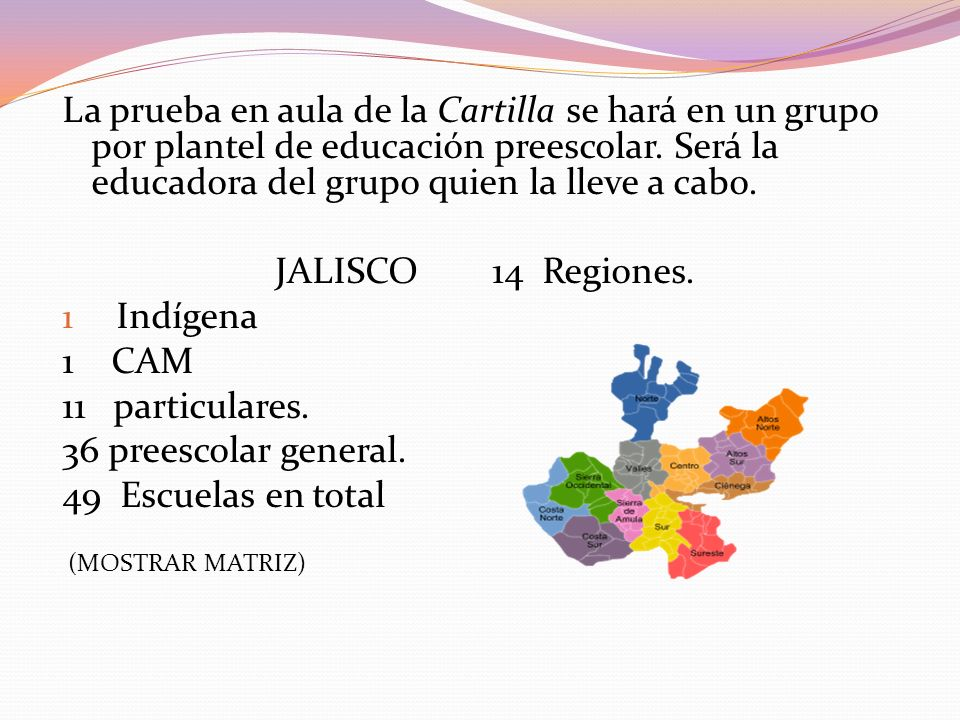 La prueba en aula de la Cartilla se hará en un grupo por plantel de educación preescolar. Será la educadora del grupo quien la lleve a cabo. JALISCO 1