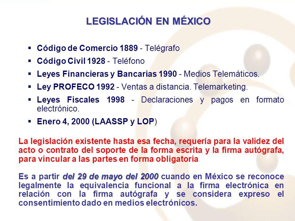 LEGISLACIÓN EN MÉXICO Código de Comercio 1889 - Telégrafo Código Civil 1928 - Teléfono Leyes Financieras y Bancarias 1990 - Medios Telemáticos. Ley PR