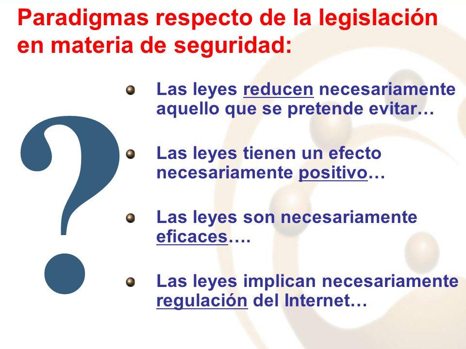Paradigmas respecto de la legislación en materia de seguridad: Las leyes reducen necesariamente aquello que se pretende evitar… Las leyes tienen un ef