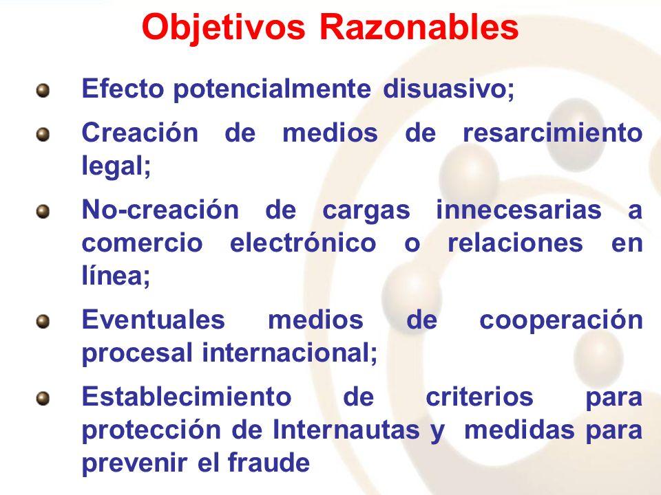 Objetivos Razonables Efecto potencialmente disuasivo; Creación de medios de resarcimiento legal; No-creación de cargas innecesarias a comercio electró