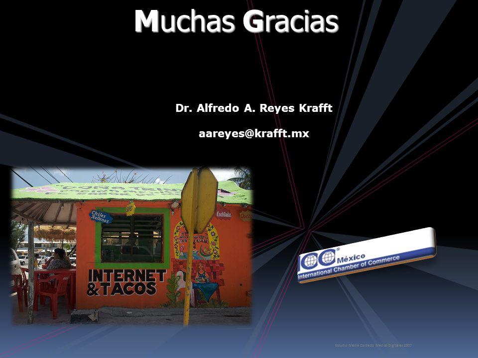 Estudio Media Contacts Medios Digitales 2007 Muchas Gracias Muchas Gracias Dr. Alfredo A. Reyes Krafft aareyes@krafft.mx