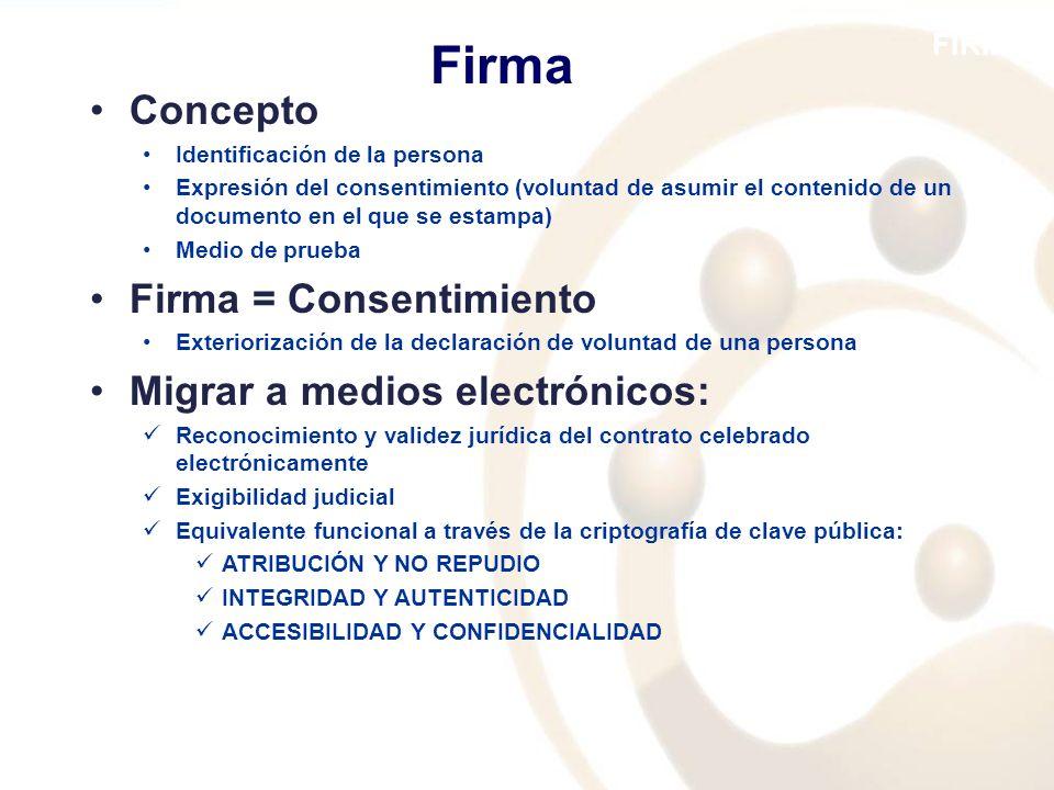FIRMA Concepto Identificación de la persona Expresión del consentimiento (voluntad de asumir el contenido de un documento en el que se estampa) Medio