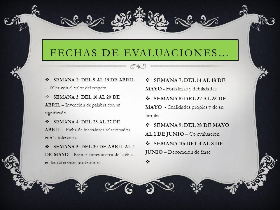 SEMANA 2: DEL 9 AL 13 DE ABRIL – Taller con el valor del respeto. SEMANA 3: DEL 16 AL 20 DE ABRIL – Invención de palabra con su significado. SEMANA 4: