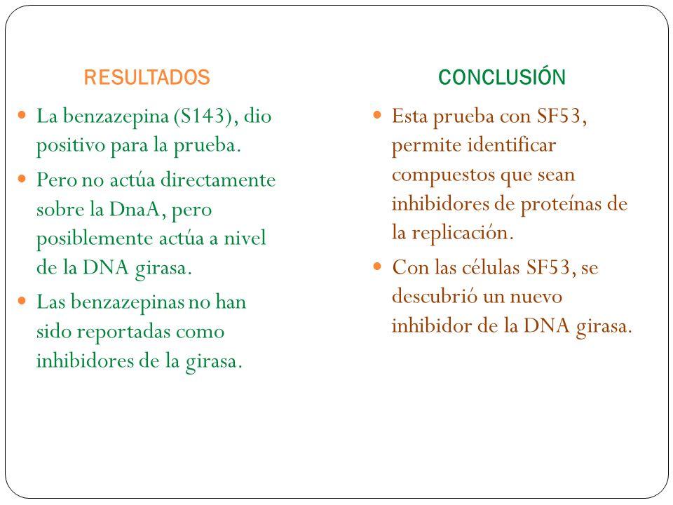 RESULTADOSCONCLUSIÓN La benzazepina (S143), dio positivo para la prueba.