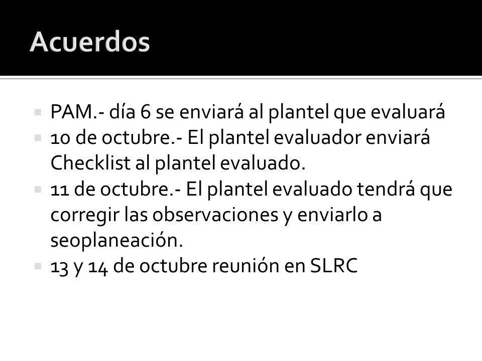 PAM.- día 6 se enviará al plantel que evaluará 10 de octubre.- El plantel evaluador enviará Checklist al plantel evaluado.