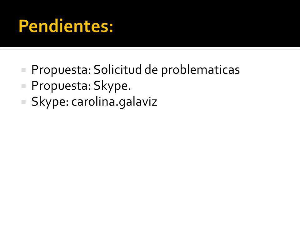 Propuesta: Solicitud de problematicas Propuesta: Skype. Skype: carolina.galaviz