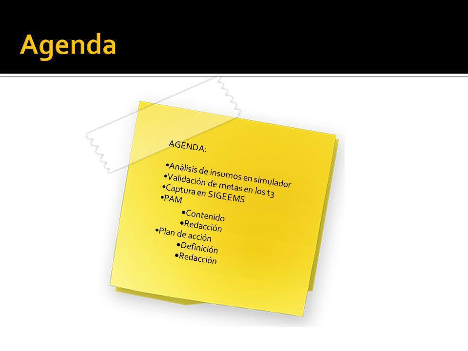 AGENDA: Análisis de insumos en simulador Validación de metas en los t3 Captura en SIGEEMS PAM Contenido Redacción Plan de acción Definición Redacción