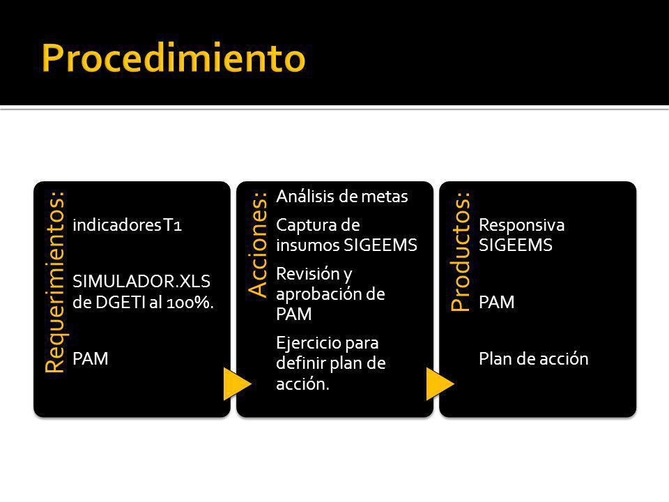 Requerimientos: indicadores T1 SIMULADOR.XLS de DGETI al 100%.