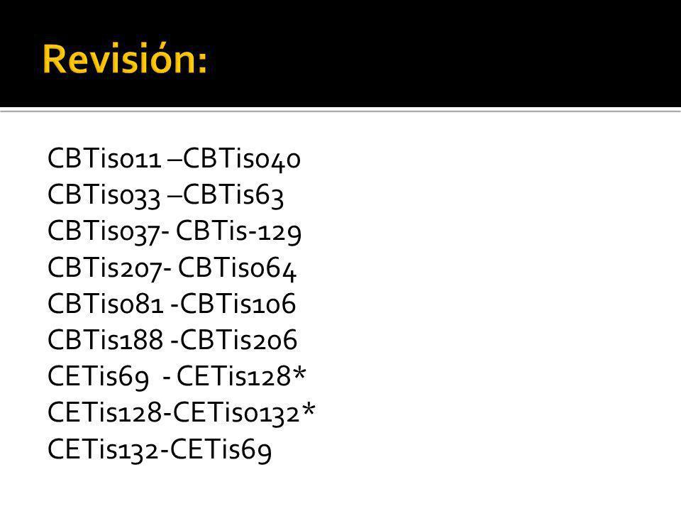 CBTis011 –CBTis040 CBTis033 –CBTis63 CBTis037- CBTis-129 CBTis207- CBTis064 CBTis081 -CBTis106 CBTis188 -CBTis206 CETis69 - CETis128* CETis128-CETis0132* CETis132-CETis69