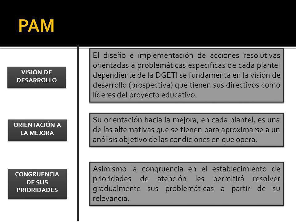 El diseño e implementación de acciones resolutivas orientadas a problemáticas específicas de cada plantel dependiente de la DGETI se fundamenta en la visión de desarrollo (prospectiva) que tienen sus directivos como líderes del proyecto educativo.