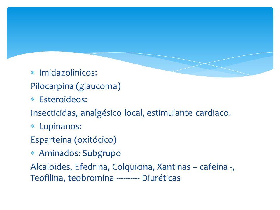 Imidazolinicos: Pilocarpina (glaucoma) Esteroideos: Insecticidas, analgésico local, estimulante cardiaco. Lupinanos: Esparteina (oxitócico) Aminados: