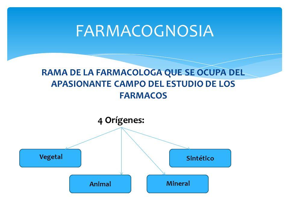 RAMA DE LA FARMACOLOGA QUE SE OCUPA DEL APASIONANTE CAMPO DEL ESTUDIO DE LOS FARMACOS FARMACOGNOSIA 4 Orígenes: Vegetal Animal Mineral Sintético