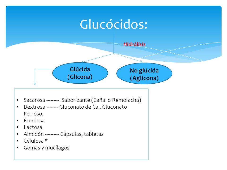 Glucócidos: Hidrólisis Glúcida (Glicona) No glúcida (Aglicona) Sacarosa --------- Saborizante (Caña o Remolacha) Dextrosa -------- Gluconato de Ca, Gl