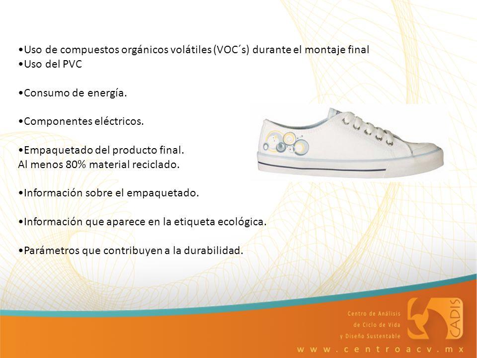 Uso de compuestos orgánicos volátiles (VOC´s) durante el montaje final Uso del PVC Consumo de energía. Componentes eléctricos. Empaquetado del product