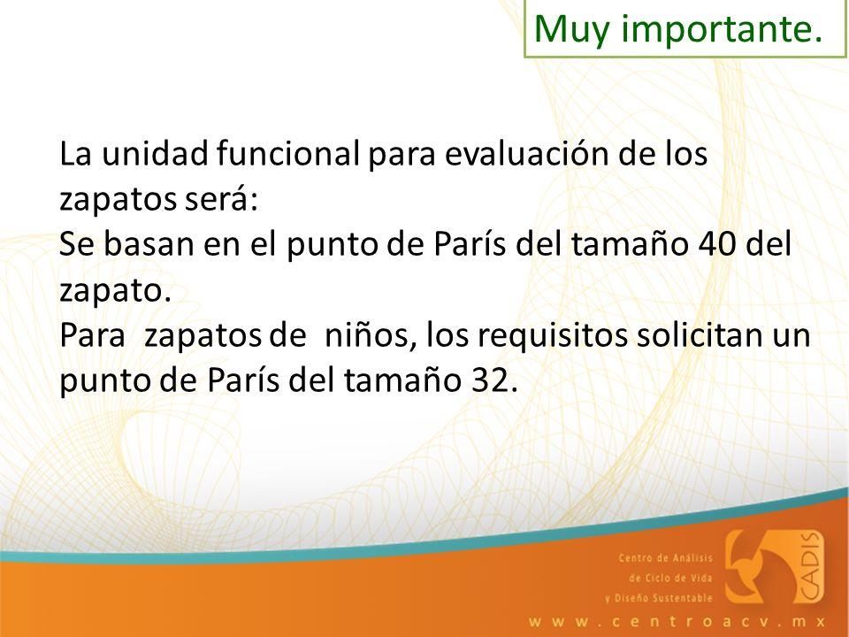 La unidad funcional para evaluación de los zapatos será: Se basan en el punto de París del tamaño 40 del zapato. Para zapatos de niños, los requisitos