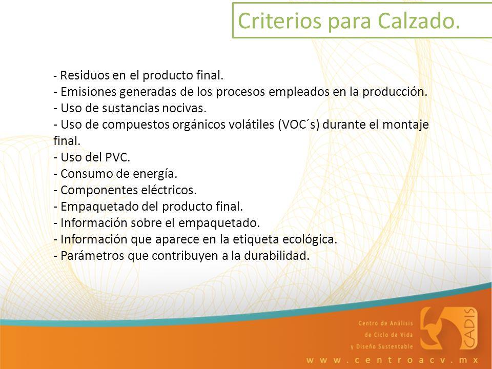 - Residuos en el producto final. - Emisiones generadas de los procesos empleados en la producción. - Uso de sustancias nocivas. - Uso de compuestos or