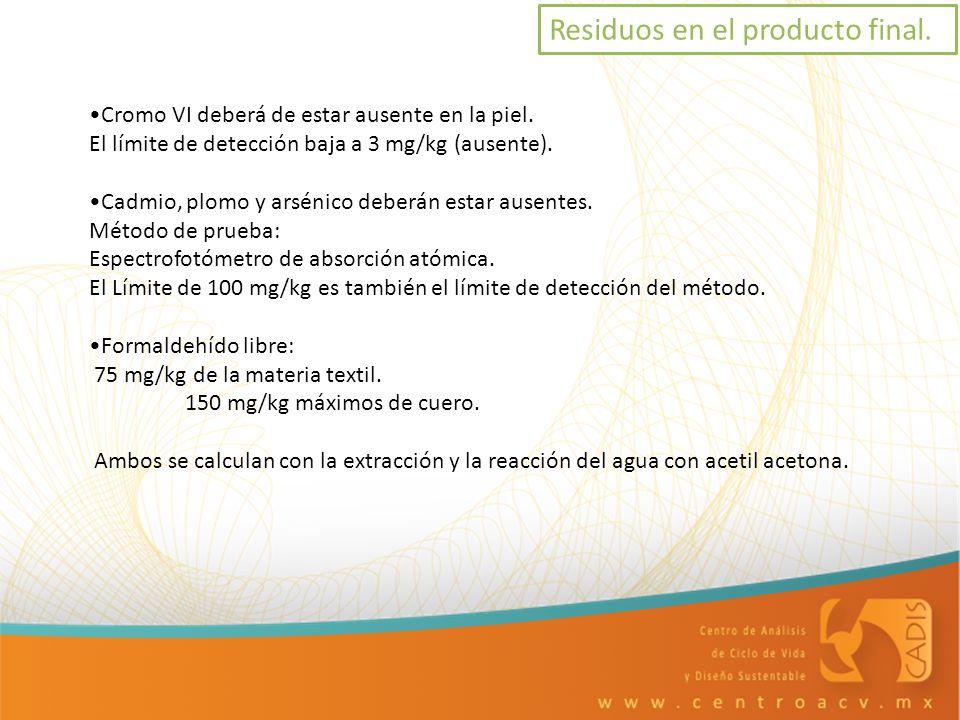 Residuos en el producto final. Cromo VI deberá de estar ausente en la piel. El límite de detección baja a 3 mg/kg (ausente). Cadmio, plomo y arsénico