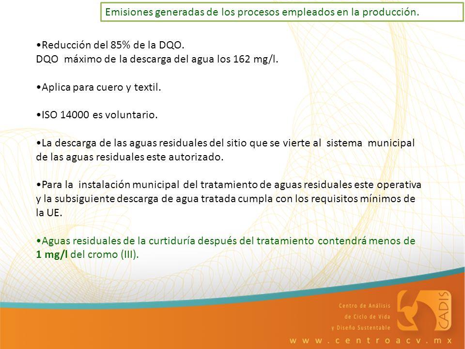 Emisiones generadas de los procesos empleados en la producción. Reducción del 85% de la DQO. DQO máximo de la descarga del agua los 162 mg/l. Aplica p