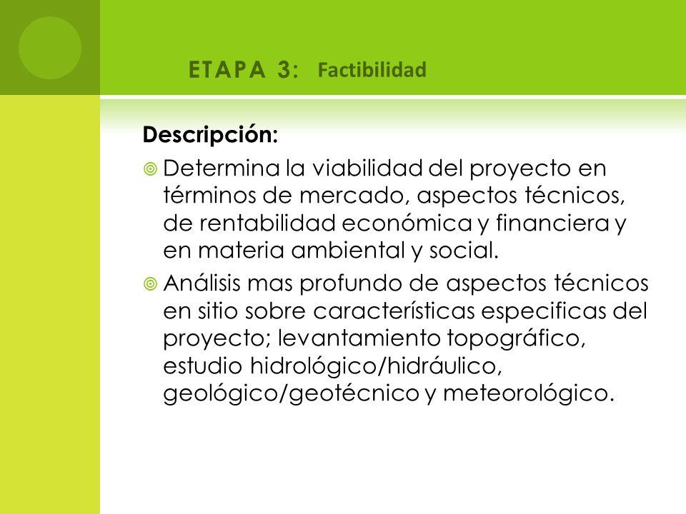 ETAPA 3: Descripción: Determina la viabilidad del proyecto en términos de mercado, aspectos técnicos, de rentabilidad económica y financiera y en mate