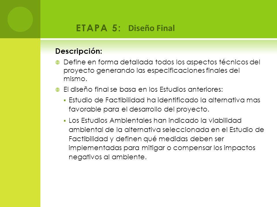 ETAPA 5: Diseño Final Descripción: Define en forma detallada todos los aspectos técnicos del proyecto generando las especificaciones finales del mismo