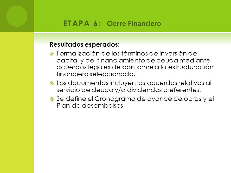 ETAPA 6: Cierre Financiero Resultados esperados: Formalización de los términos de inversión de capital y del financiamiento de deuda mediante acuerdos