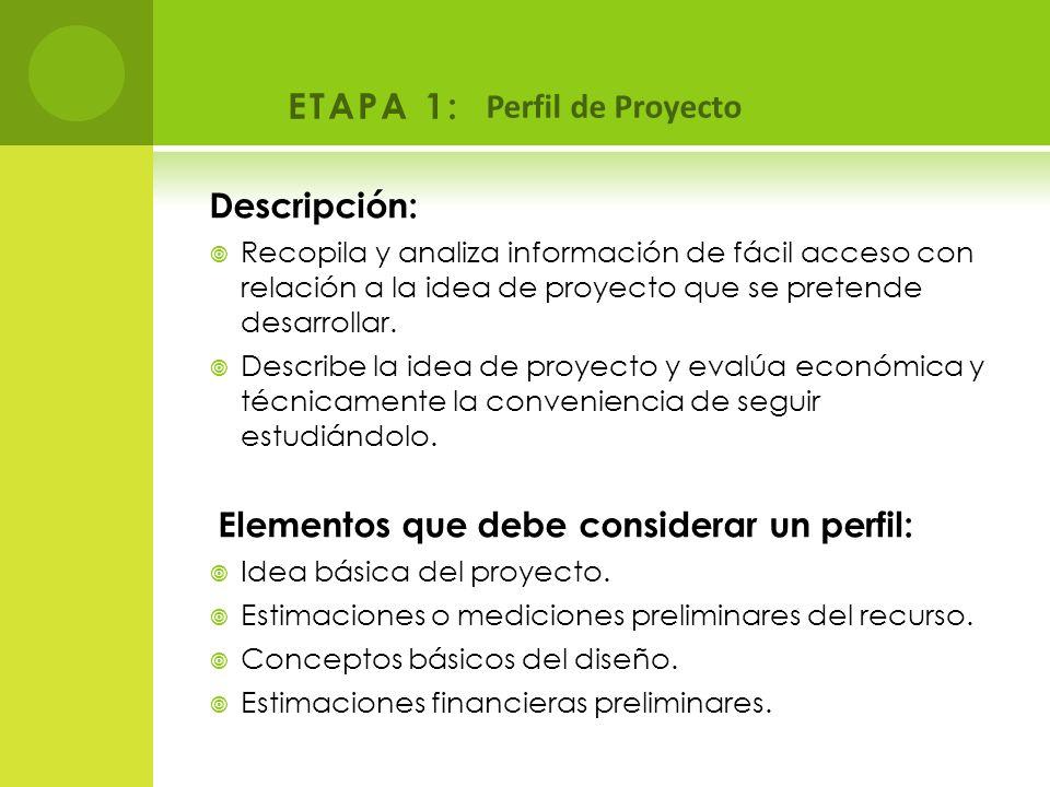 ETAPA 1: Perfil de Proyecto Descripción: Recopila y analiza información de fácil acceso con relación a la idea de proyecto que se pretende desarrollar