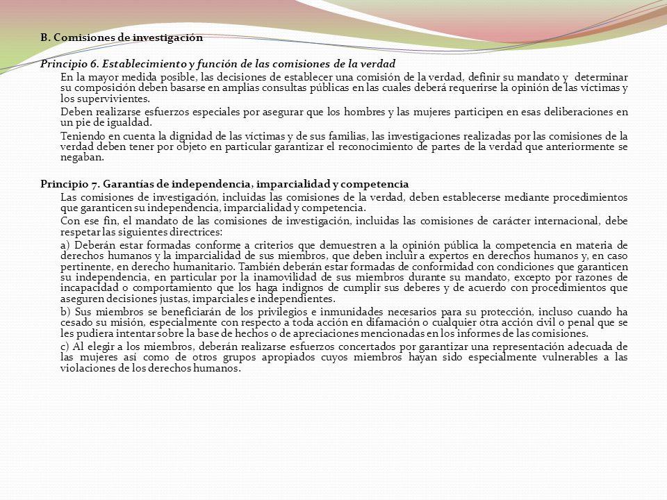 B. Comisiones de investigación Principio 6.
