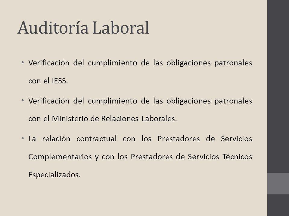 Auditoría Laboral Verificación del cumplimiento de las obligaciones patronales con el IESS. Verificación del cumplimiento de las obligaciones patronal