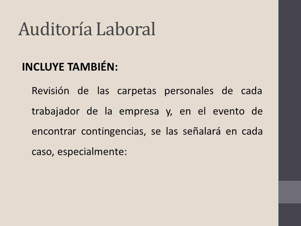Auditoría Laboral INCLUYE TAMBIÉN: Revisión de las carpetas personales de cada trabajador de la empresa y, en el evento de encontrar contingencias, se