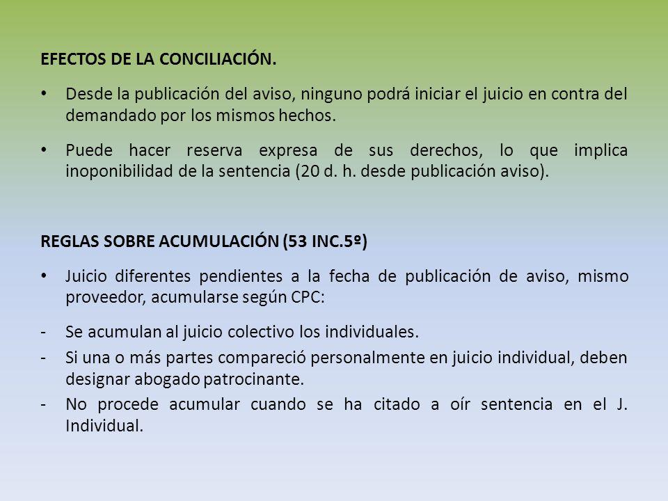 EFECTOS DE LA CONCILIACIÓN. Desde la publicación del aviso, ninguno podrá iniciar el juicio en contra del demandado por los mismos hechos. Puede hacer