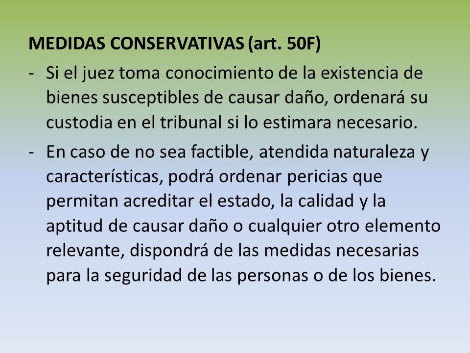 MEDIDAS CONSERVATIVAS (art. 50F) -Si el juez toma conocimiento de la existencia de bienes susceptibles de causar daño, ordenará su custodia en el trib