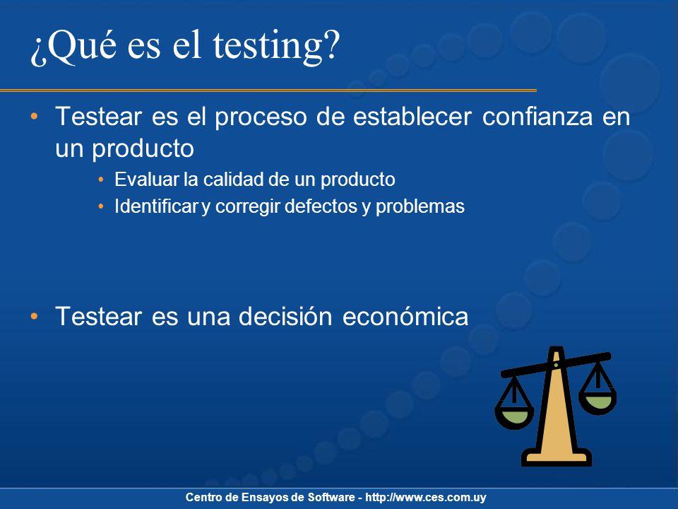 Centro de Ensayos de Software - http://www.ces.com.uy Tipos de Testing Según objeto a evaluar Unidad, Integración, Sistema Según aspecto a evaluar Funcional No funcional Performance, Plataformas, Usabilidad, etc.