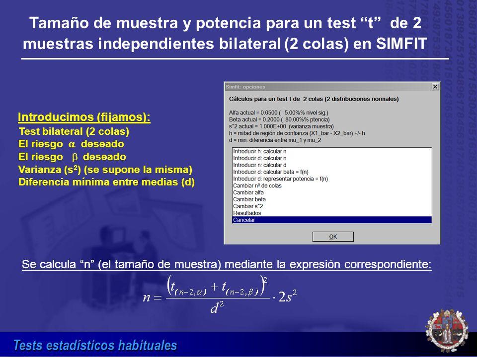 Tests estadísticos habituales Tamaño de muestra y potencia para un test t de 2 muestras independientes bilateral (2 colas) en SIMFIT Test bilateral (2