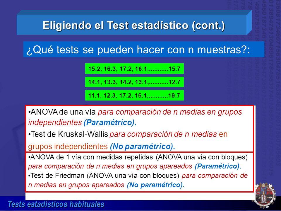 Tests estadísticos habituales ANOVA de una vía para comparación de n medias en grupos independientes (Paramétrico). Test de Kruskal-Wallis para compar