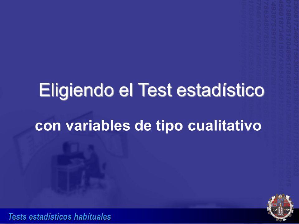 Tests estadísticos habituales Eligiendo el Test estadístico con variables de tipo cualitativo