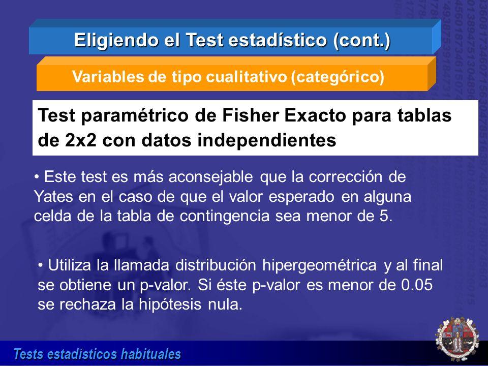 Tests estadísticos habituales Variables de tipo cualitativo (categórico) Test paramétrico de Fisher Exacto para tablas de 2x2 con datos independientes