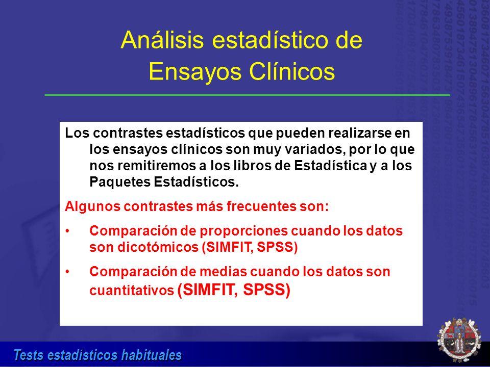 Tests estadísticos habituales Análisis estadístico de Ensayos Clínicos Los contrastes estadísticos que pueden realizarse en los ensayos clínicos son m
