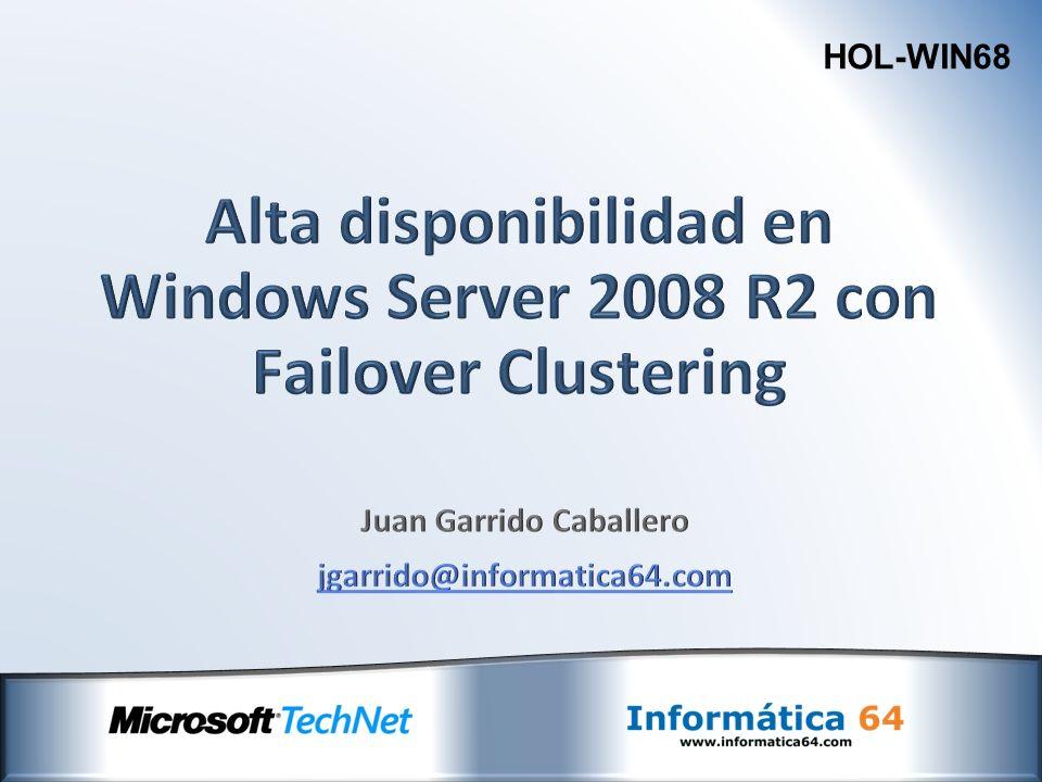 Validación Instalación Administración Modelos de Despligue Nuevas funcionalidades y mejoras Diagnóstico y resolución de problemas Clustering en Windows Server 2008 R2 El cluster para gente sin doctorado