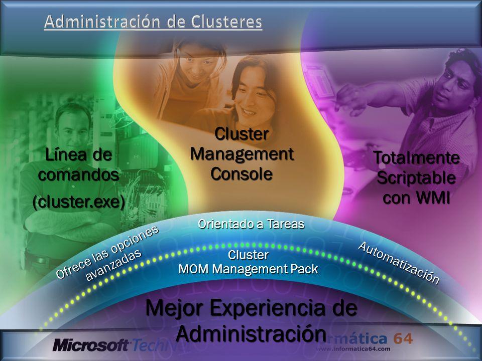 Línea de comandos (cluster.exe) Cluster Management Console Totalmente Scriptable con WMI Mejor Experiencia de Administración Ofrece las opciones avanz